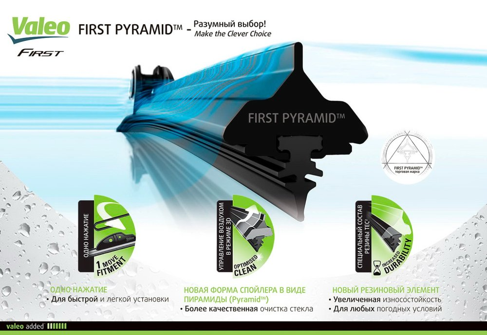 бескаркасные щетки  Valeo First Pyramid